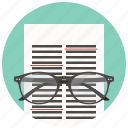 data, document, file, glasses, page, read, text icon