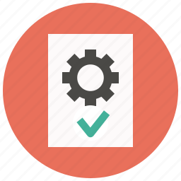approve, document, file, gear, options, page, settings icon