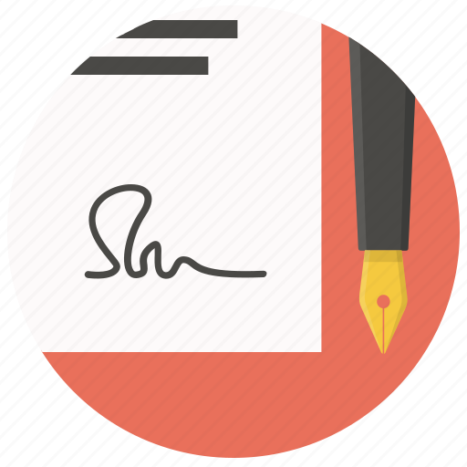 agreement, contract, document, paper, pen, sign, signature icon