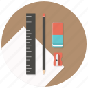 blueprints, build, paper, pencil, ruler, sharpener, stationary icon