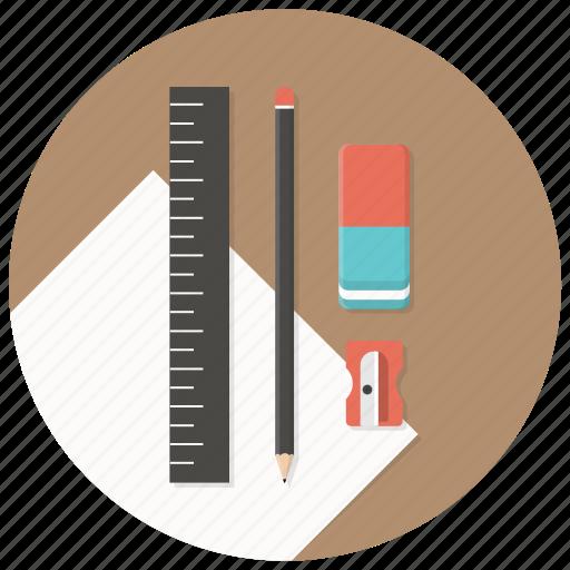 blueprints, build, paper, pencil, ruler, sharpener, stationary icon
