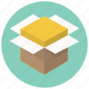 box, delivery, open, package, product, shipping, shippment icon