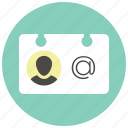 business card, card, contact, profile, sketch, user, vcard icon