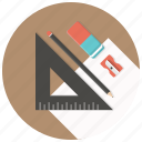 blueprints, build, develop, pen, ruler, sharpner, stationary icon