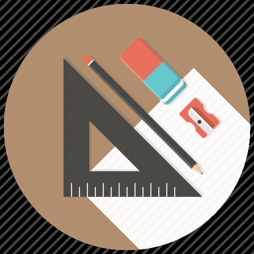 blueprints, build, develop, pen, ruler, sharpner, stationary icon