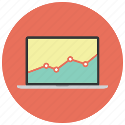 analytics, bar, chart, diagram, graph, macbook, statistics icon