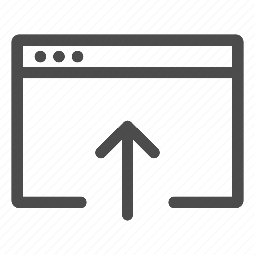 arrow, browser, raise, rise, up, upload, website icon