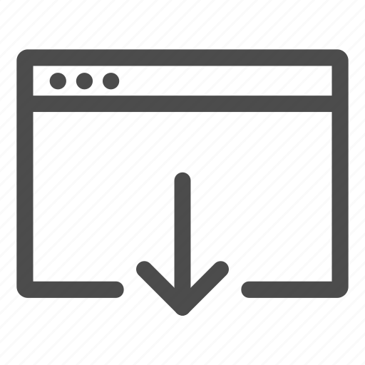 arrow, browser, down, download, webpage icon