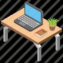 employee desk, laptop, office desk, office table, workplace icon