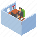employee desk, office area, office cabin, office desk, workplace icon