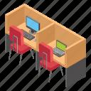 employee desks, office area, office cabins, office desks, workplace icon