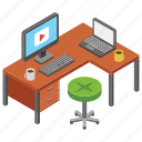 media office, media production, office, office desk, video tutorial, workplace icon