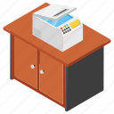 office equipment, printer, printer table, printing documents, workplace