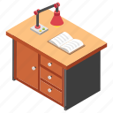 office desk, office room, office workstation, study desk, study table icon