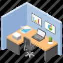 employee desk, office area, office cabin, office desks, workplace icon