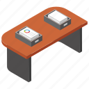 business files, documents, office desk, workplace, workstation icon