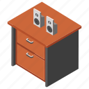 drawer, media room, office furniture, side table, workplace icon