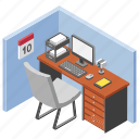employee table, manager cabin, office desk, project manager, workplace icon
