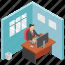 employee desk, employee table, employee working, job, workplace icon