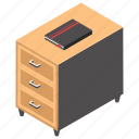 drawer, furnished office, office furniture, office table, side table icon