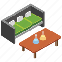 chemical testing, experiment room, lab room, office area, office lab icon