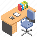 director desk, employer table, office, work desk, workplace icon