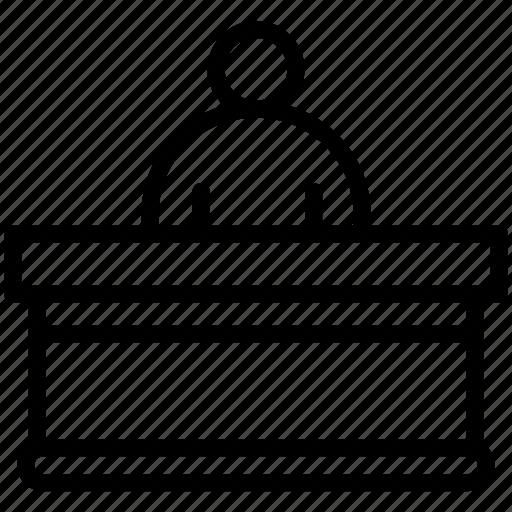 administrative, counter, desk, information, reception icon