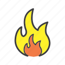 blaze, burn, caution, fire, flame, flameable icon
