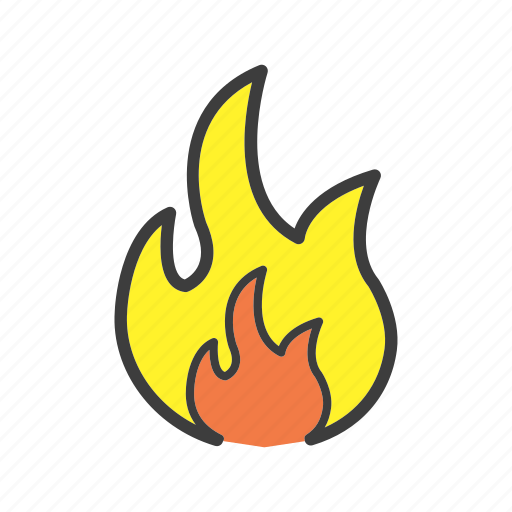 blaze, burn, caution, fire, flame, flameable icon