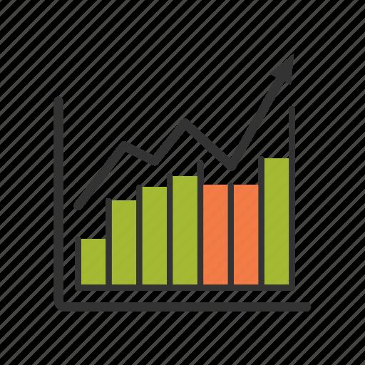 brokerage, diagram, finance, growth, income, oil, price icon