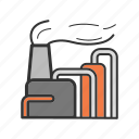 factory, oil, plant, refinery, smoke icon