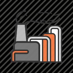 factory, oil, plant, refinery, smoke icon