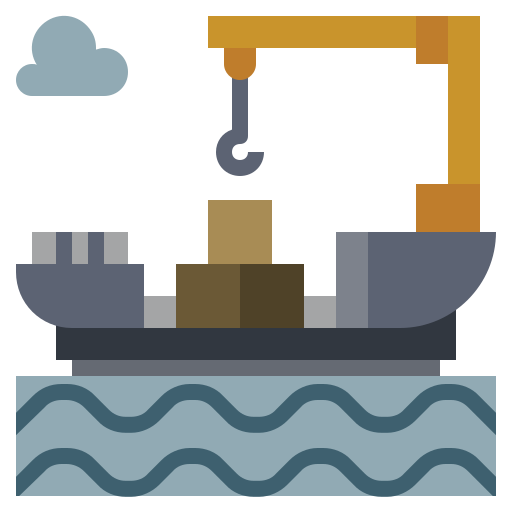 cargo, factory, illustration, industry, oil, power, ship icon