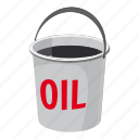 bucket, cartoon, fuel, oil, petrol, storage, transportation icon