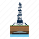 cartoon, drilling, industry, oil, sea, storage, well icon