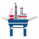 cartoon, industry, oil, platform, sea, storage, transportation icon