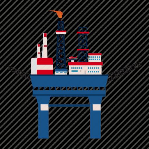 cartoon, industry, oil, platform, sea, storage, transportation icon