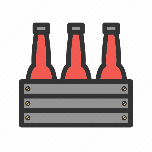 alcohol, beer, bottles, brown, glass, white icon