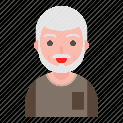 avatar, elder, face, man, older, people icon
