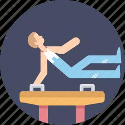 acrobatics, artistic, gymnastics, horse, olympics, perform, pommel icon