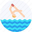 aquatic sports, diving, olympics, swimming icon