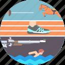 athletics, fencing, olympics, pentathlon, shooting, swimming icon