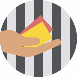 card, games, red, referee, sports, umpire, yellow icon