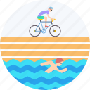 athletics, cycling, running, sports, swimming, triathlon icon