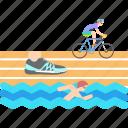 athletics, cycling, olympics, running, swimming, triathlon icon