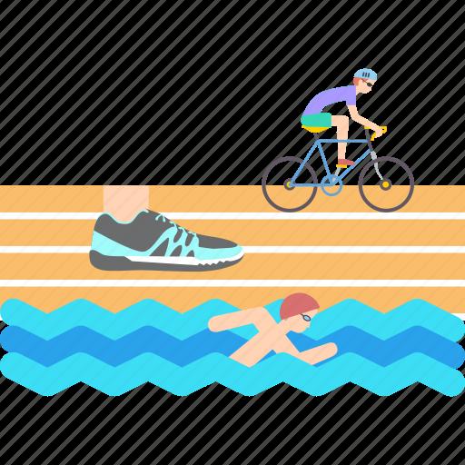 athletics, cycling, running, sports, swimming, triathlon icon