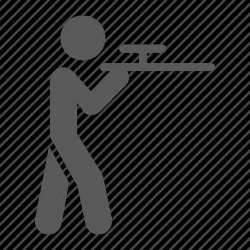 hunting, man, riffle, shooting, shotgun, sport icon