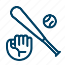 baseball, softball, bat, glove icon
