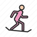 downhill, mountain, skiing, snowboarding, sport, white, winter icon