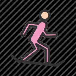 downhill, mountain, skiing, snowboarding, sport, white, winter icon